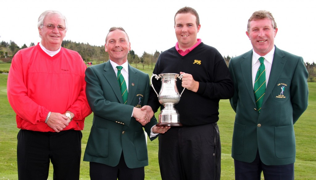 Lee Valley Senior Scratch Cup Champion Shane Lowry accepting the cup from Lee Valley Captain Tony Hurley. Also included are Jerry Keohane (left), owner Lee Valley and Redmond Tobin, Lee Valley President. Picture: Niall O'Shea