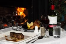 dinner with wine by the fire at Lee Valley restaurant