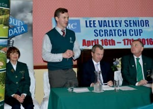 David Keohane giving a speech at Senior Scratch Cup at Lee Valley
